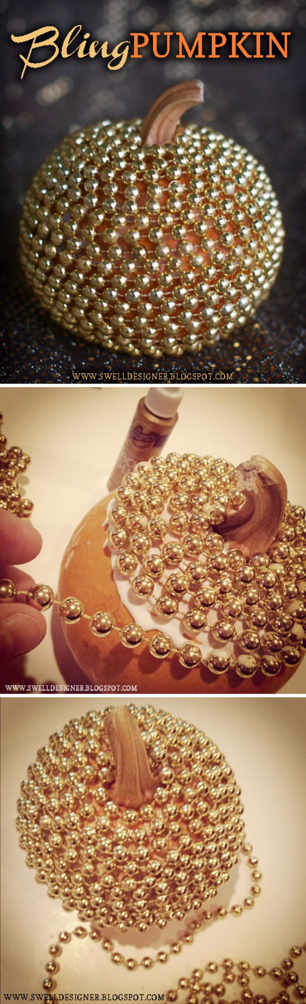 DIY Gold Bling Pumpkin.