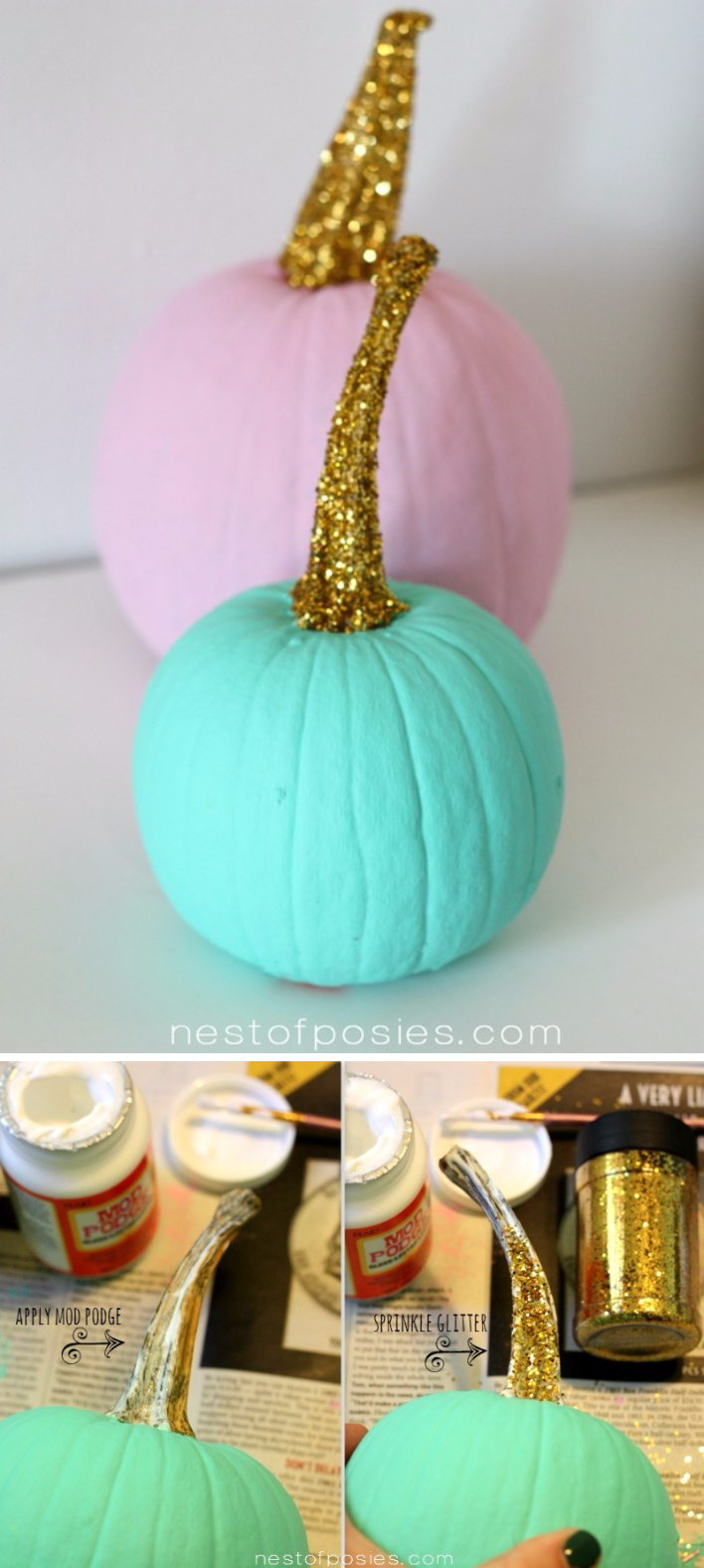 Paint The Pumpkin Stem Gold.