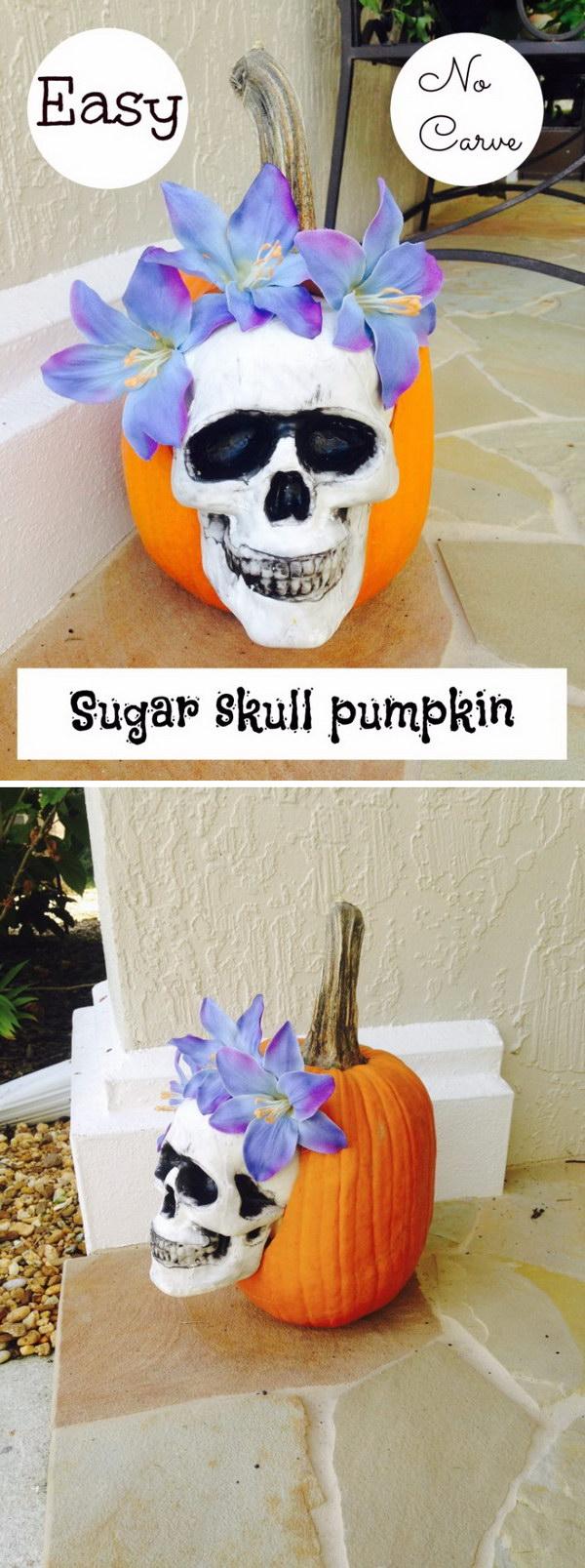 Easy No Carve Sugar Skull  Pumpkin Decorating.
