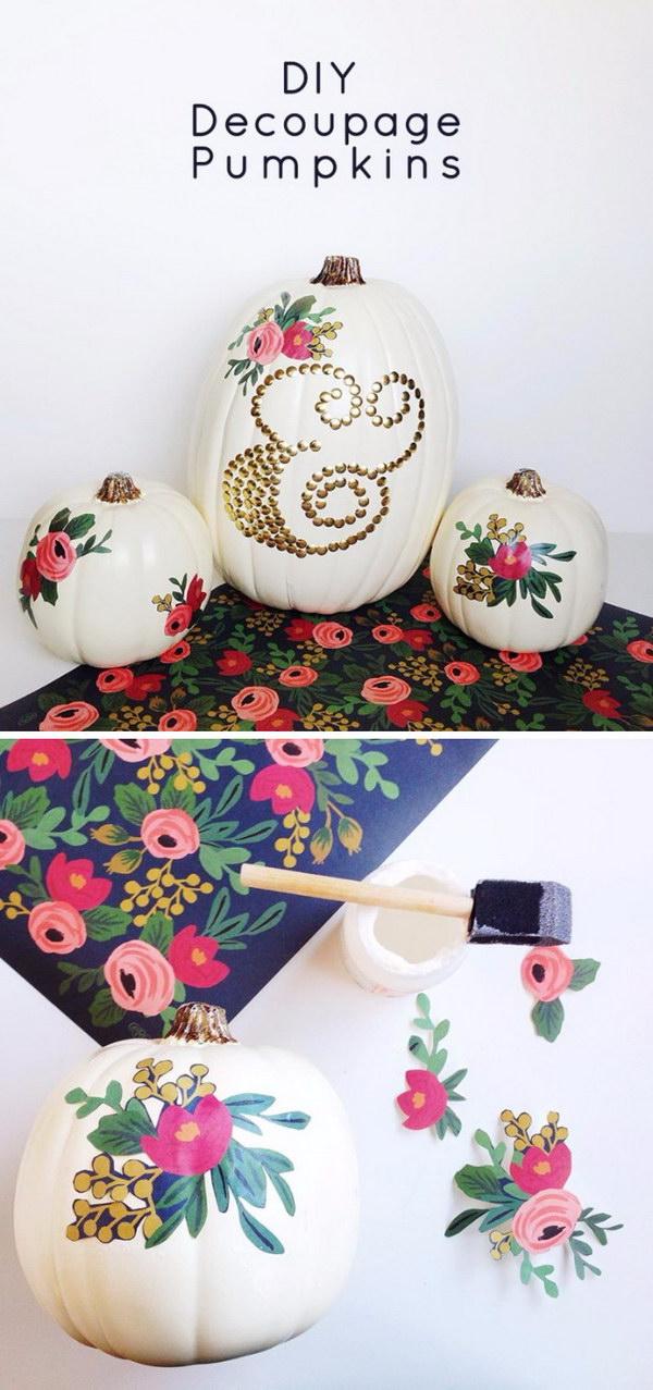 No Carve Decoupage Pumpkins.