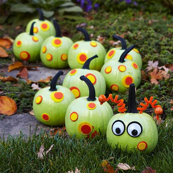 Caterpillar Painted Pumpkins.