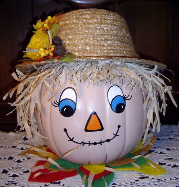 how to make a pumpkin look like a scarecrow