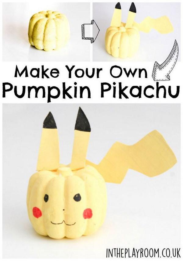 Easy No Carve Pumpkin Pikachu.