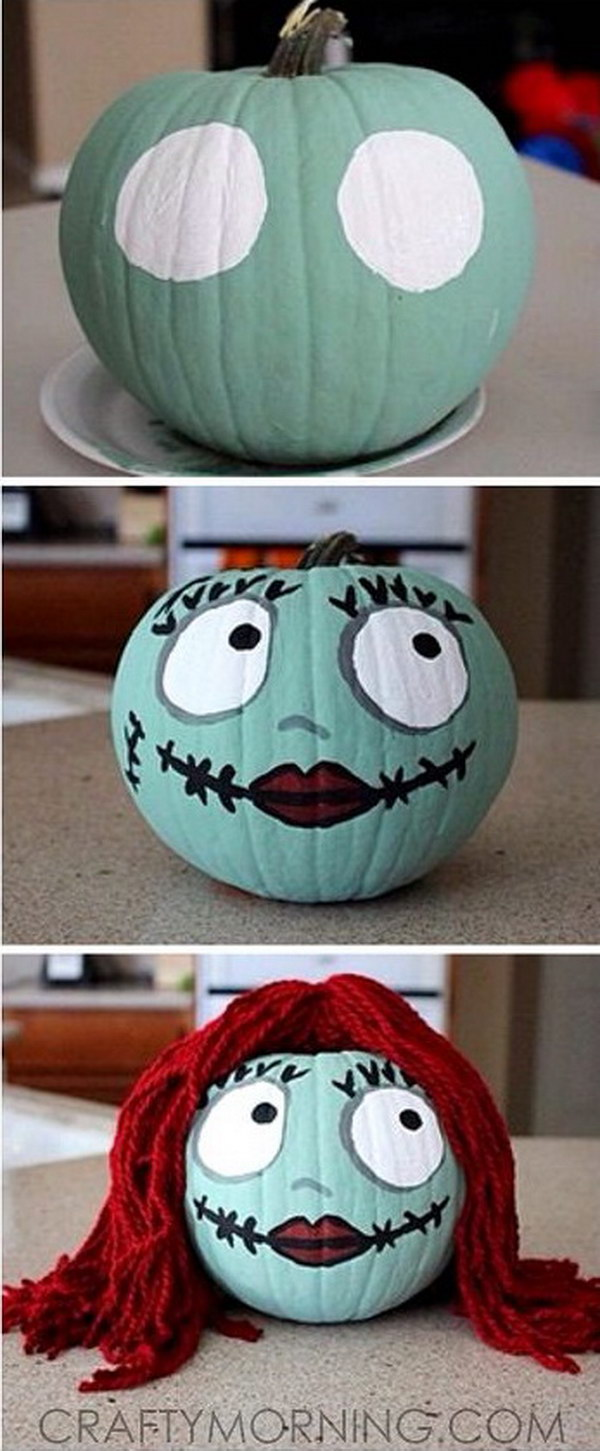 Sally Skellington No Carve Pumpkin for Halloween.