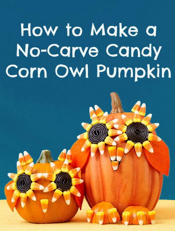 Candy Corn Owl Pumpkin.