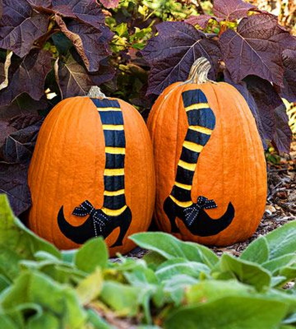 Witch Legs Painted Pumpkins.