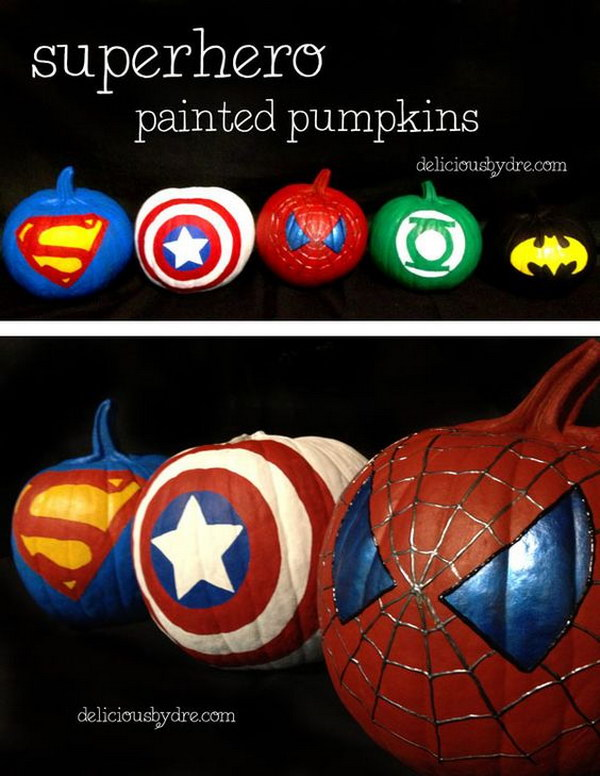 25 no carve painted pumpkin ideas a new trend of painting pumpkins martha stewart style the - Charming kid halloween decoration with various batman pumpkin ...