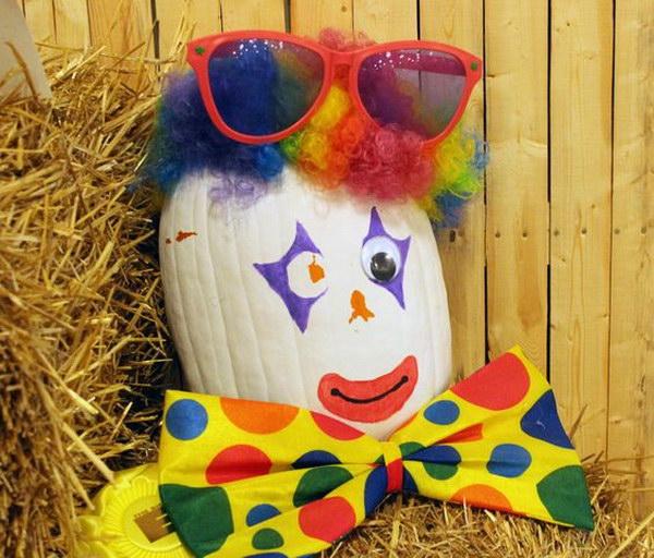 Clown Decorated Pumpkin.
