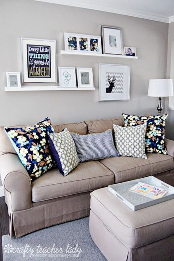 20 great ways to make use of the space behind couch for extra storage and visual depth hative - Living room multi use shelf idea ...