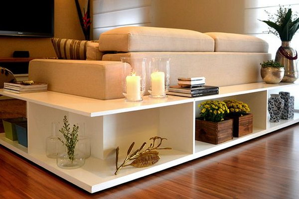 Genial Stylish Shelving Behind The Couch