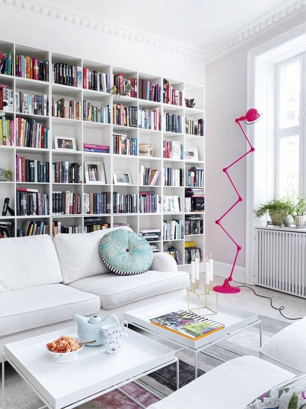 Lovely A Wall Of Books Can Look Quite Overwhelming, But This White One Is  Perfectly Embedded On The Wall And Provides A Great Frame For The Barely  Darker Sofa With ...