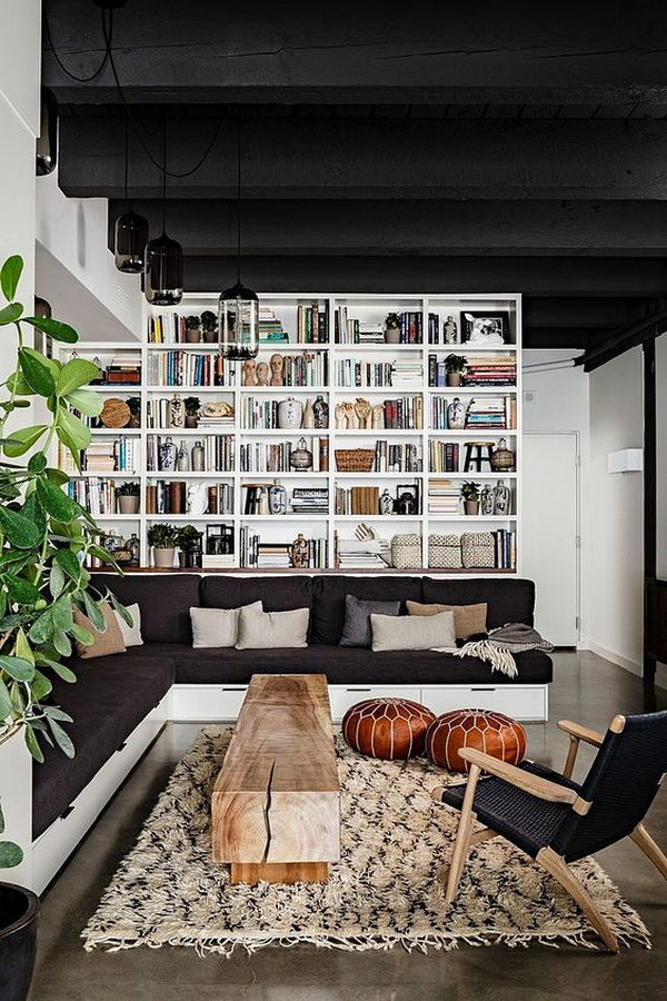 Wonderful Bookcase Behind The Sofa