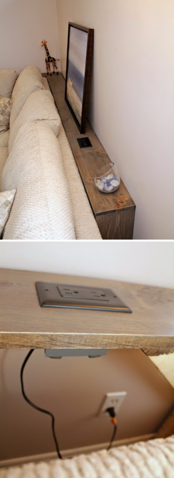 This DIY Sofa Table Behind Built In Outlets Allows You Plug In Your Electronics Easily.