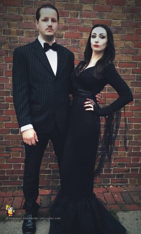 Cool Morticia and Gomez Addams Couple Costume.