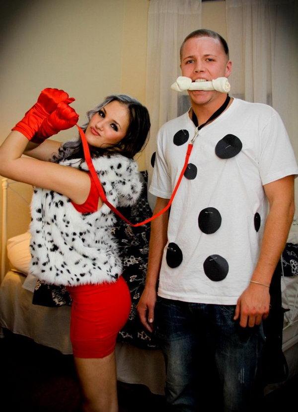 60 cool couple costume ideas hative cruella de ville and dalmatian couples costume solutioingenieria Image collections