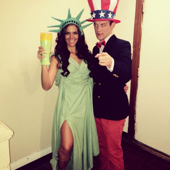 Statue of Liberty and Uncle Sam .
