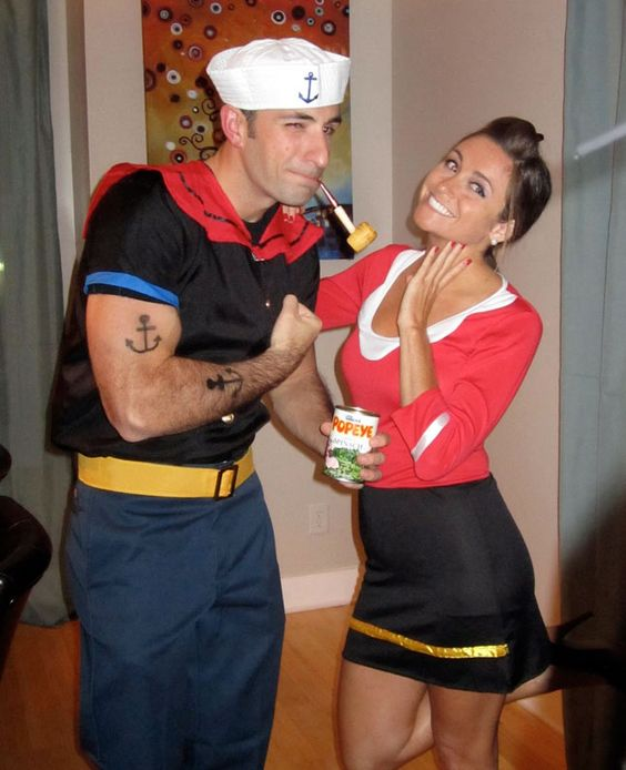 60 cool couple costume ideas hative popeye and olive oyl couple halloween costume solutioingenieria Images