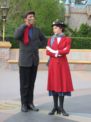Mary Poppins and Bert .