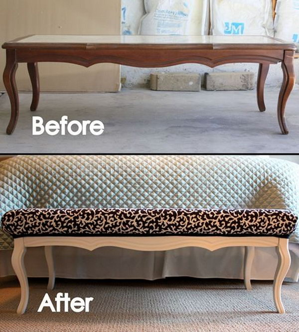 old furniture makeovers. DIY Stylish Ottoman From An Old Coffee Table Furniture Makeovers I