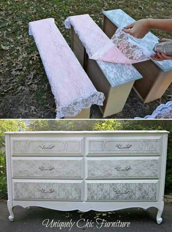 Spray Painted Silver over Lace to Get the Shaby Chic Effect.