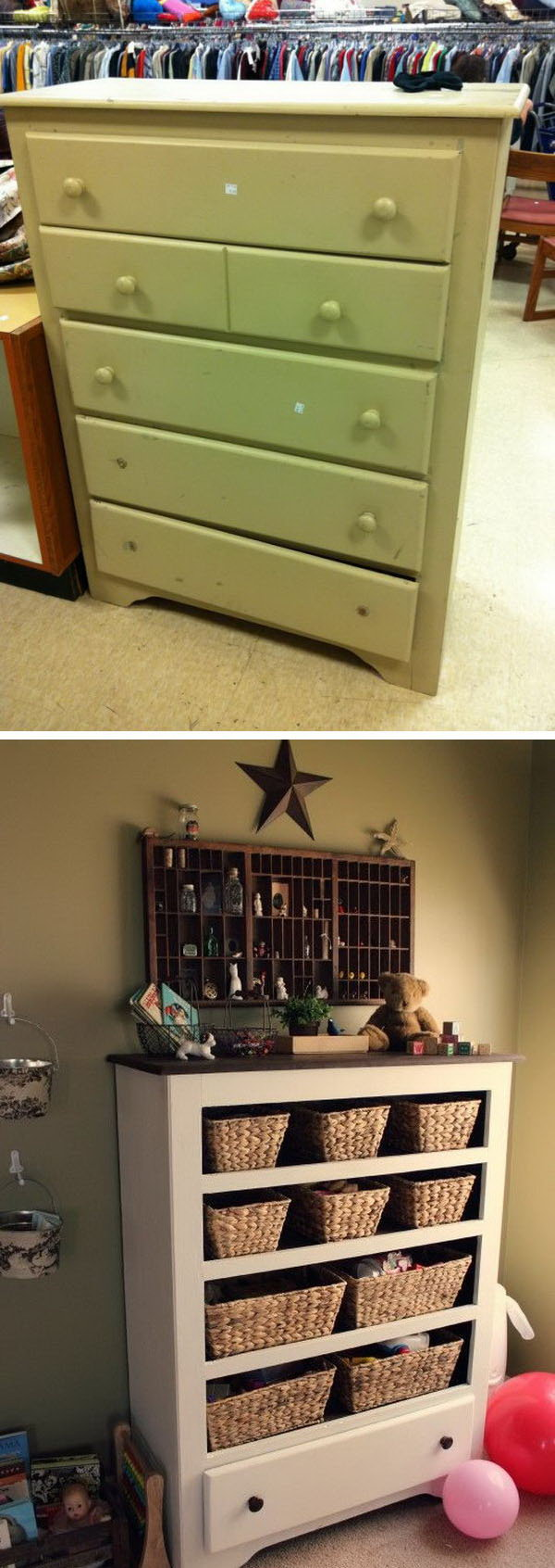 DIY Funny Functional Storage Or Craft Supplies From A $9.50 Thrift Store  Drawer