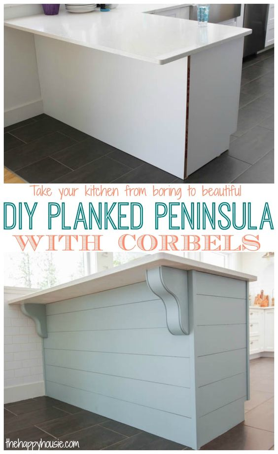 Turn Your Kitchen from Boring Builder Basic to Beautiful With a DIY Planked Peninsula With Corbels.