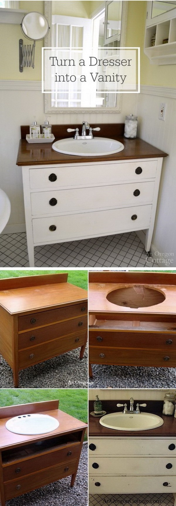 DIY Bathroom Vanity with Drawers for Storage.
