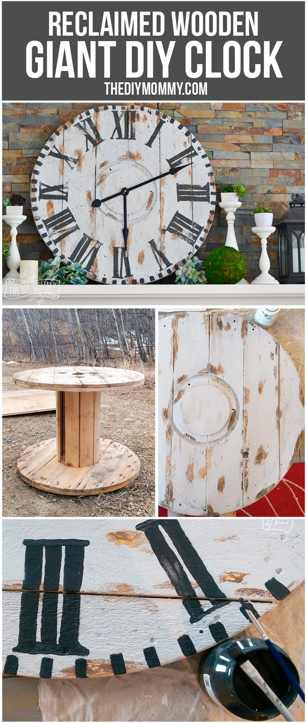 Make a Giant Reclaimed Wood Clock from an Electrical Reel.