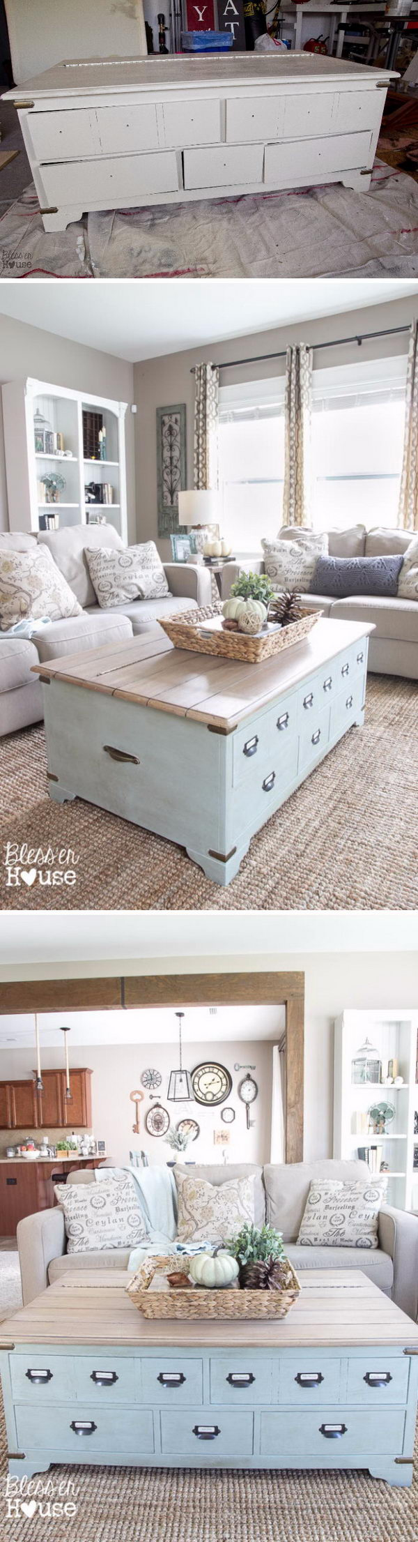 $50 Faux Planked Coffee Table Makeover from a Trunk Coffee Table.