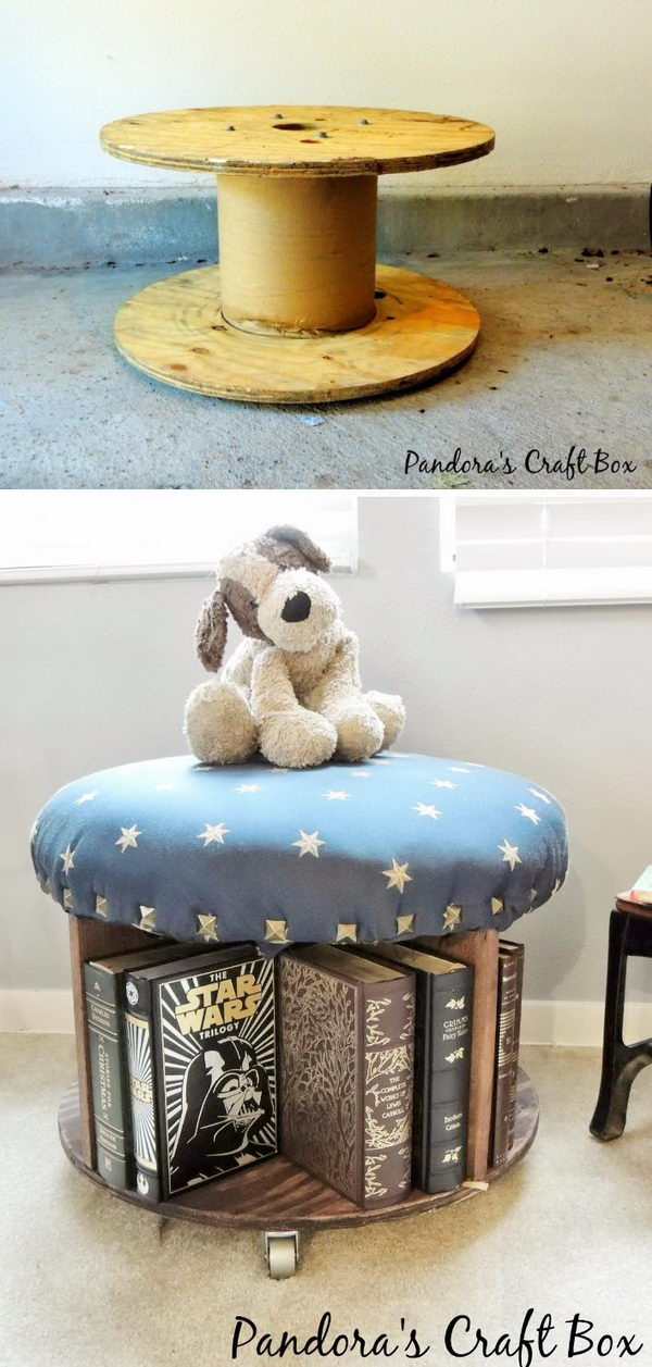 DIY Repurposed Wooden Cable Spool Table.
