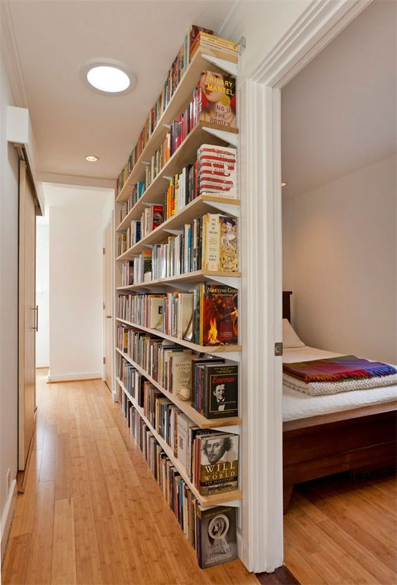 Create A Small Library Within A Long Narrow Hallway