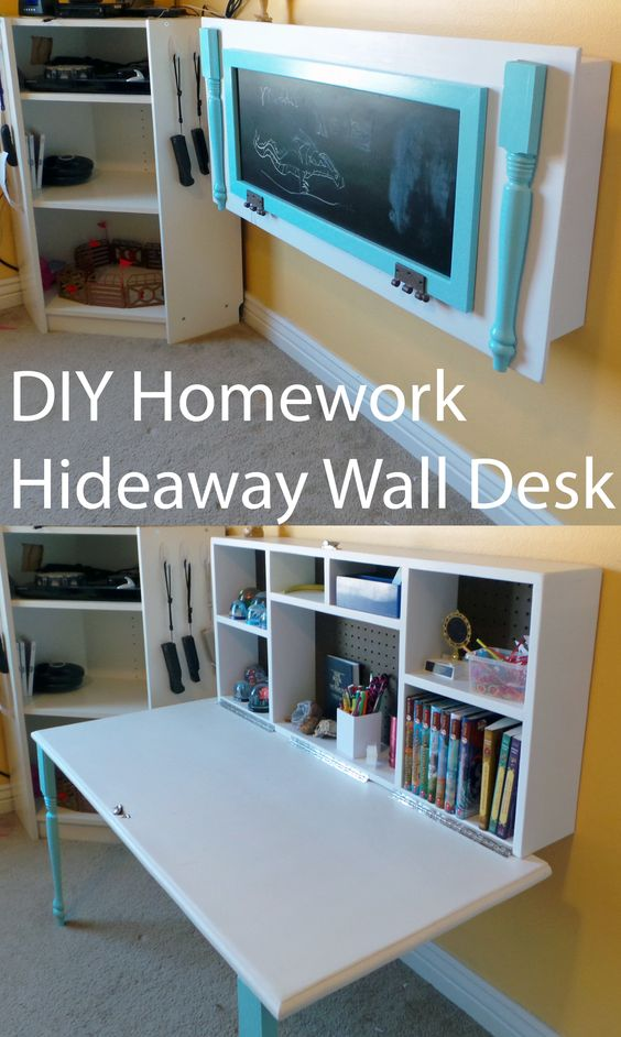 DIY Hideaway Wall Desk For Kidsu0027 Homework.