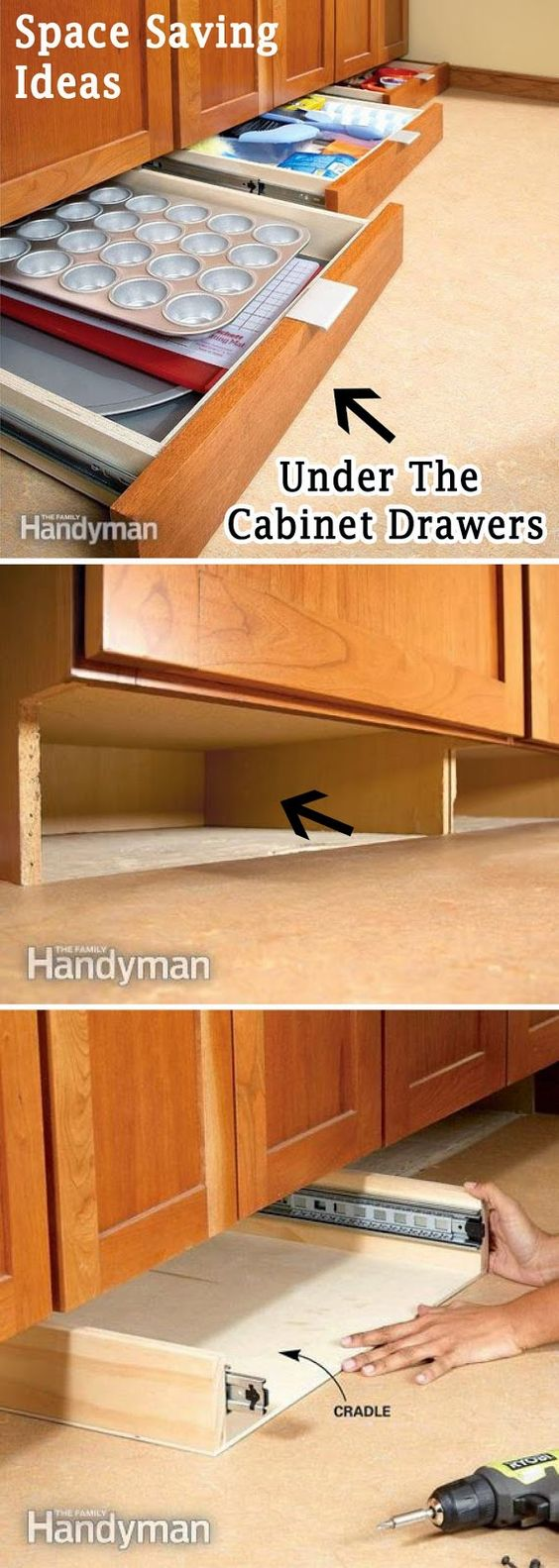 Get More Space in the Kitchen with Under Cabinet Drawers.