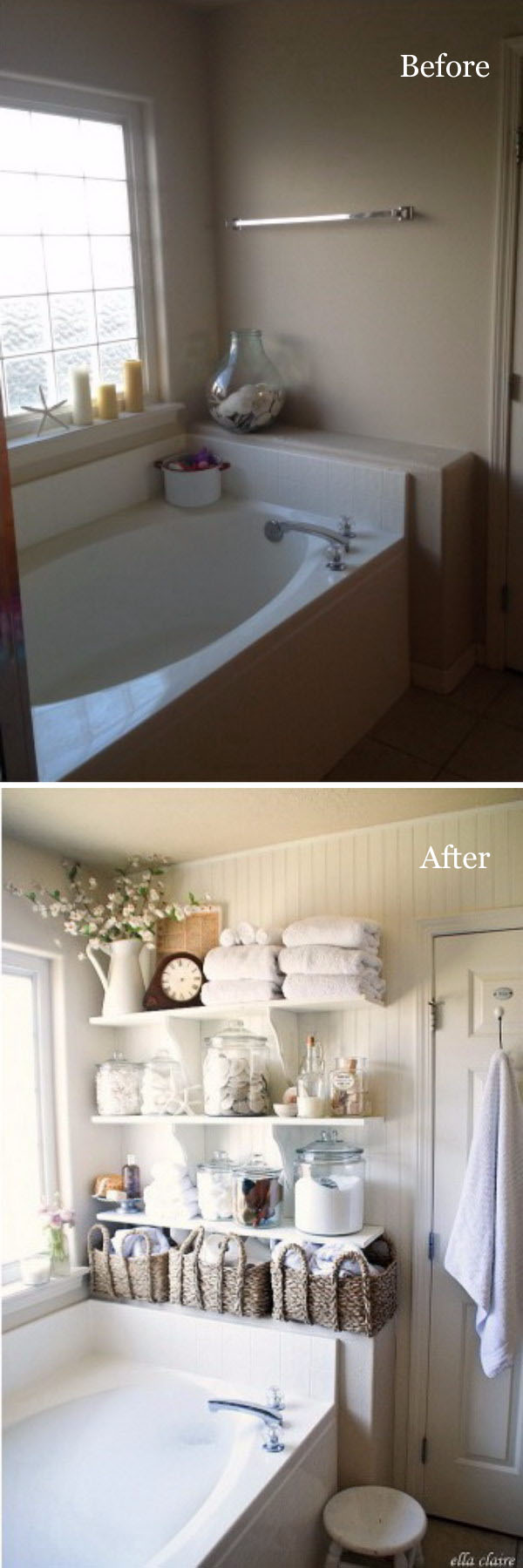 Take Advantage of Empty Walls with DIY Bathroom Linen Shelves.