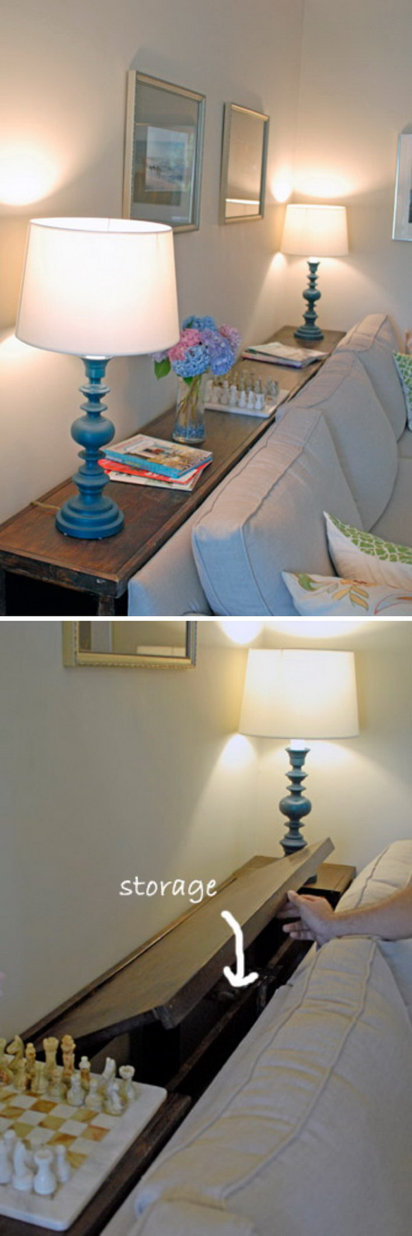 Place a Little Console Table with Storage Behind Your Couch so You Have More Room.