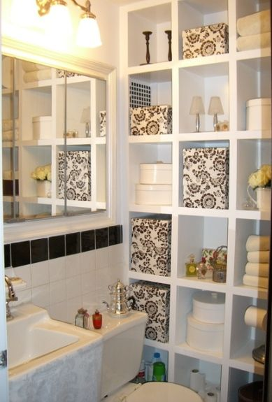 Great Idea to Put an Open Bookshelf Against a Blank Wall in The Bathroom and Use It for Extra Storage.