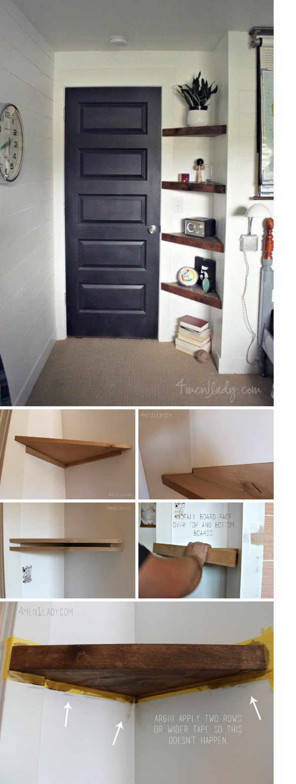 Use Floating Corner Shelves To Create More Storage In An Awkward Small  Corner