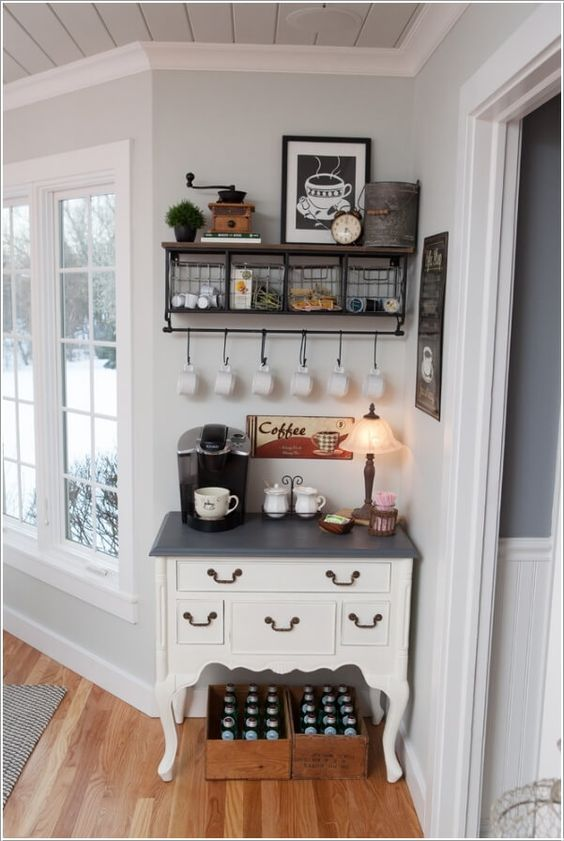 Set Up a Coffee Station in Any Unused Corner in Any Part of Your Home.