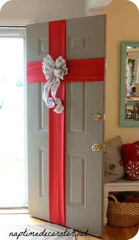 Front Door Wrapped Present.