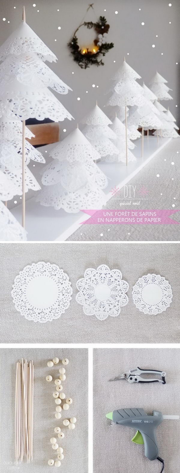 DIY Forest of Paper Doily Trees .