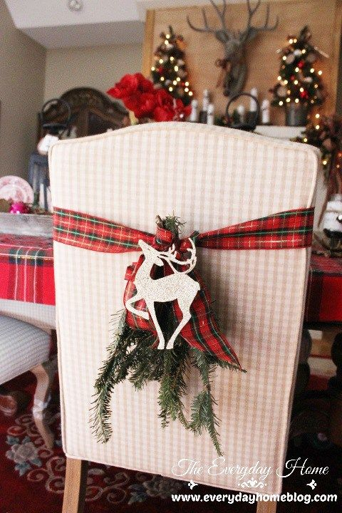 Plaid Ribbon Decorated Christmas Chair.