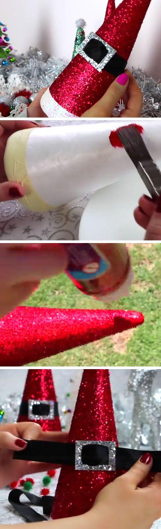 Diy xmas decorations ideas - Diy Santa Hat Cones