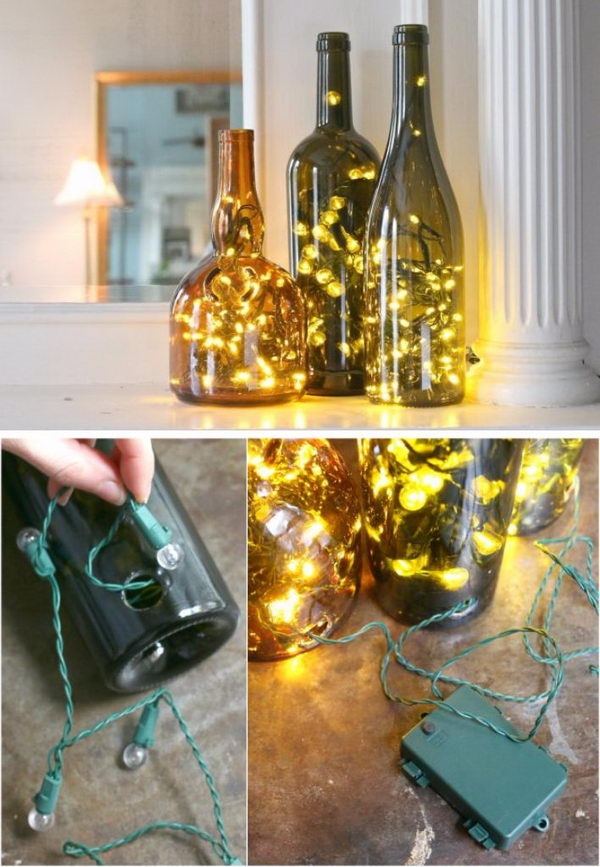 Christmas Lights in a Wine Bottle.