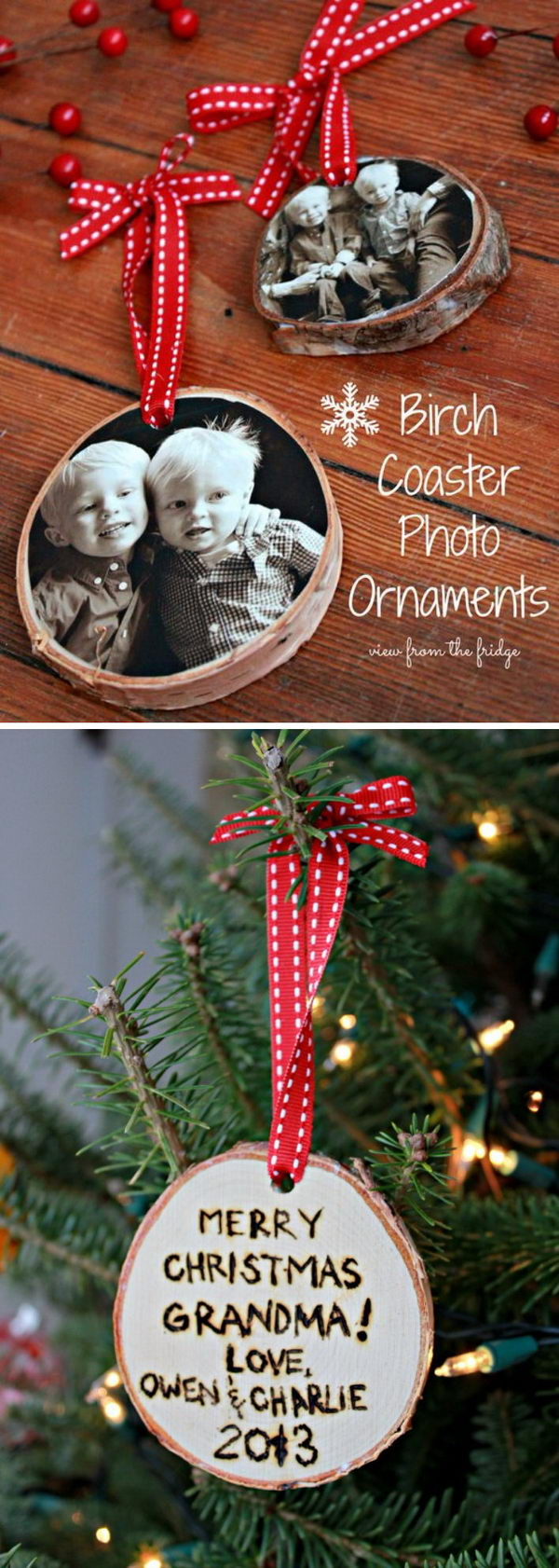 DIY Wood Slice Photo Ornament.