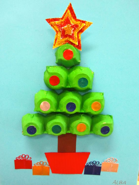 Egg Carton Christmas Tree.