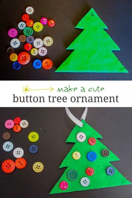 Cute Button Tree Ornament for Kids.