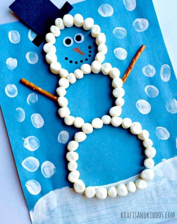Marshmallow Snowman Craft .