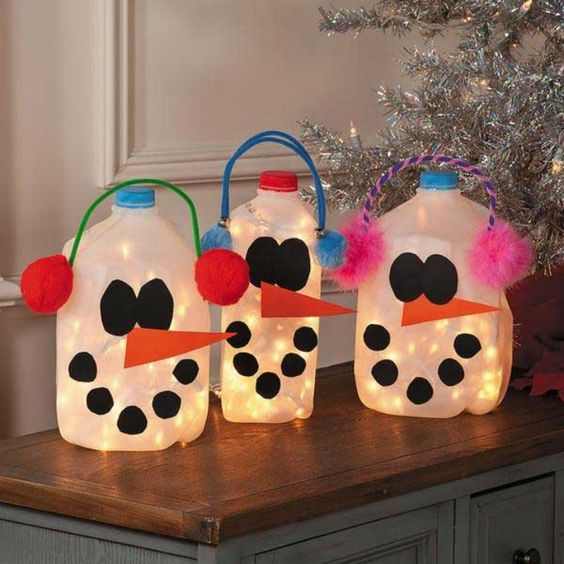 Snowman Milk Jugs.