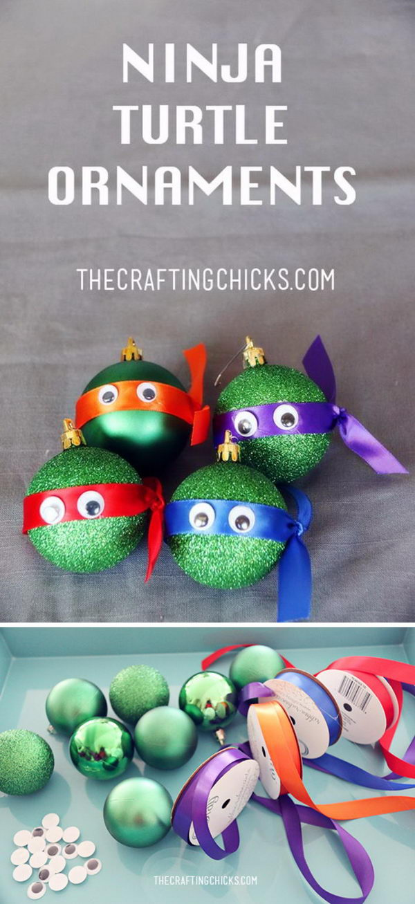 Easy and cute diy christmas crafts for kids to make hative ninja turtle ornaments solutioingenieria Images