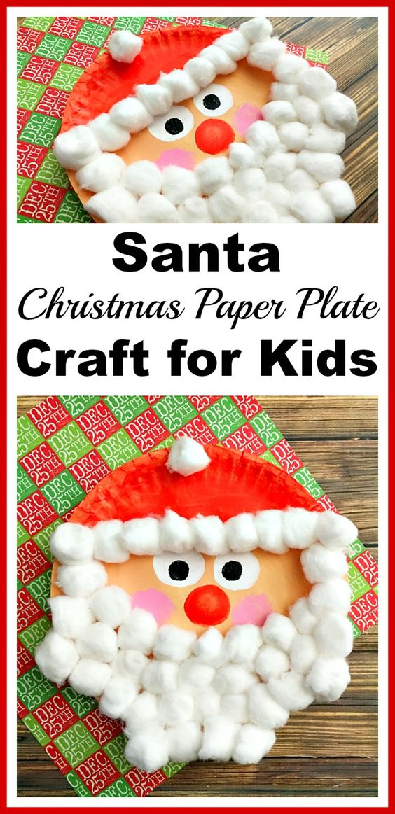 Santa Christmas Cotton Ball And Paper Plate Craft  sc 1 st  Hative & Easy and Cute DIY Christmas Crafts for Kids to Make - Hative